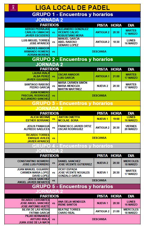 Horario Liga Local de Pádel - Jornada 2