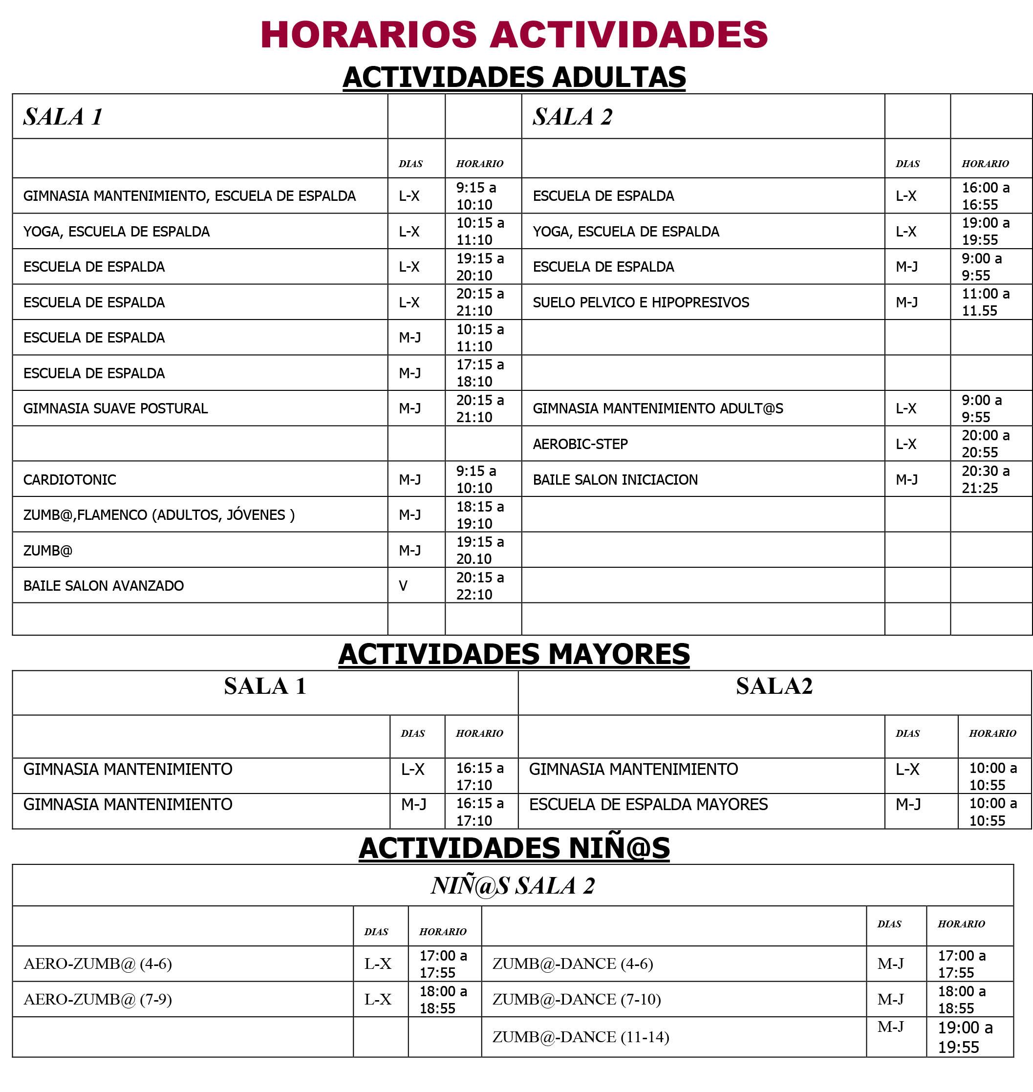 HORARIOS ACTIVIDADES 2021 22
