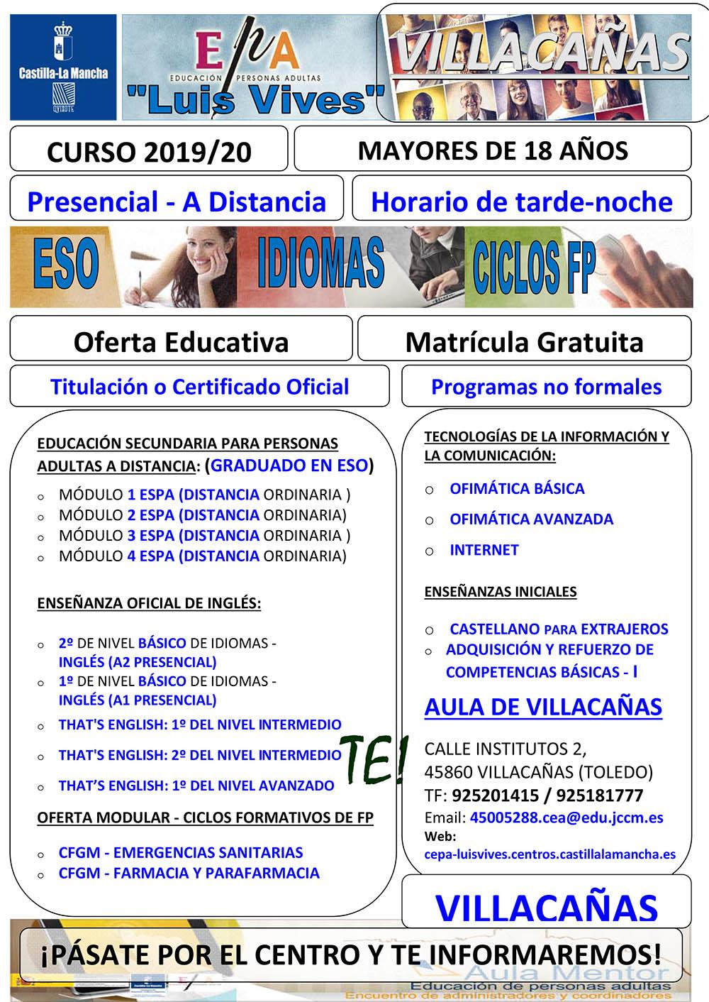 Publicada La Oferta Formativa De Educación De Adultos En
