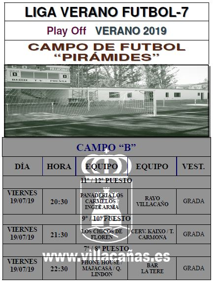 Horario Liga de Verano Fútbol 7