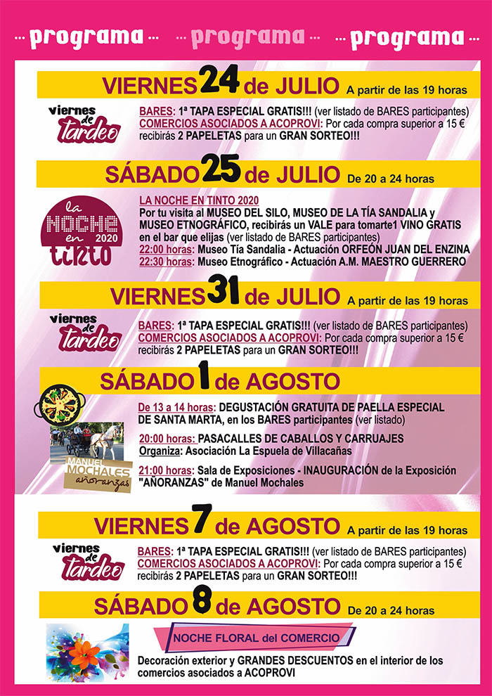 Villacañas lanza un programa cultural para dinamizar el verano de la mano de comerciantes y hosteleros
